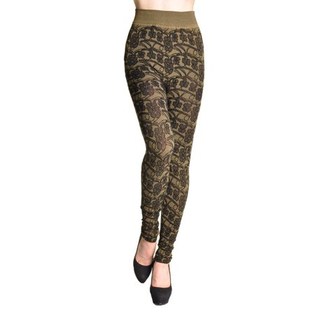 Womens Cotton Floral Lace Jacquarded Footless Leggings Pants NEW Comfy Footless Leggings