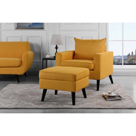Contemporary Accent Chair And Ottoman With Hidden Storage Set Linen Upholstered Yellow