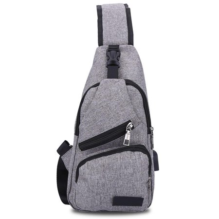 Yosoo Single Shoulder Bag,3Colors Men Canvas Travel Chest Pack Pouch Shoulder Bag with USB Charging Port,Shoulder (Single Travel Bag)