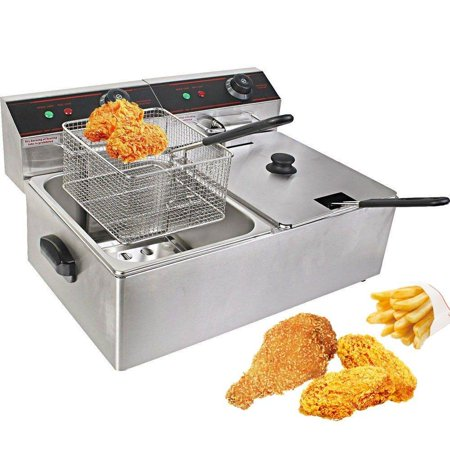 Ktaxon 12L Electric Deep Fat Fryer Dual Tank hot fryer Basket Oil Fried Chips Fish Nuggets Fry Food Kitchen Cook Pan