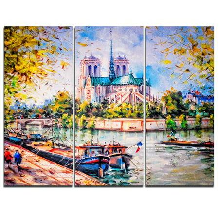 Design Art Notre Dame Paris - 3 Piece Graphic Art on Wrapped Canvas Set