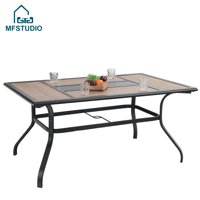 MF Studio Outdoor Garden Dining Table Wooden Like Table Top Rectangular Backyard Bistro Table with 1.56 Umbrella Hole, 61 L x 37 W