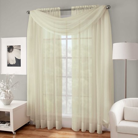 Decotex 3 Piece Sheer Voile Curtain Panel Drape Set Includes 2 Panels and 1 Scarf (95