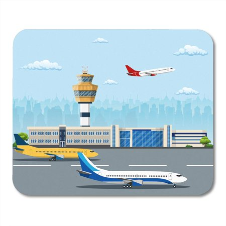 LADDKE Plane Airport Building and Airplanes on Runway Control Tower of The City Travel Tourism Air Mousepad Mouse Pad Mouse Mat 9x10 inch