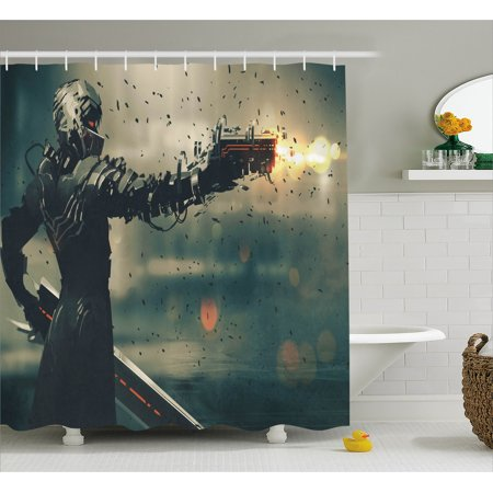 Fantasy Shower Curtain Sci Fi Game Character Evil Knight Target With Gun Weapon Computer Art Fabric Bathroom Set Hooks 69W X 70L Inches