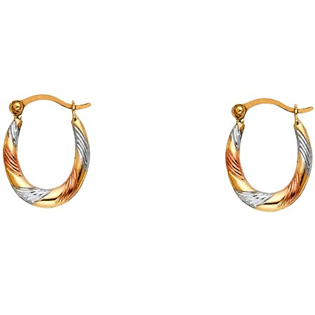 Oval Hoop Earrings Solid 14k Yellow White Rose Gold Diamond Cut Hollow Fancy Tri Color 15 x 12 mm 14k Rose Gold Hoop Earrings