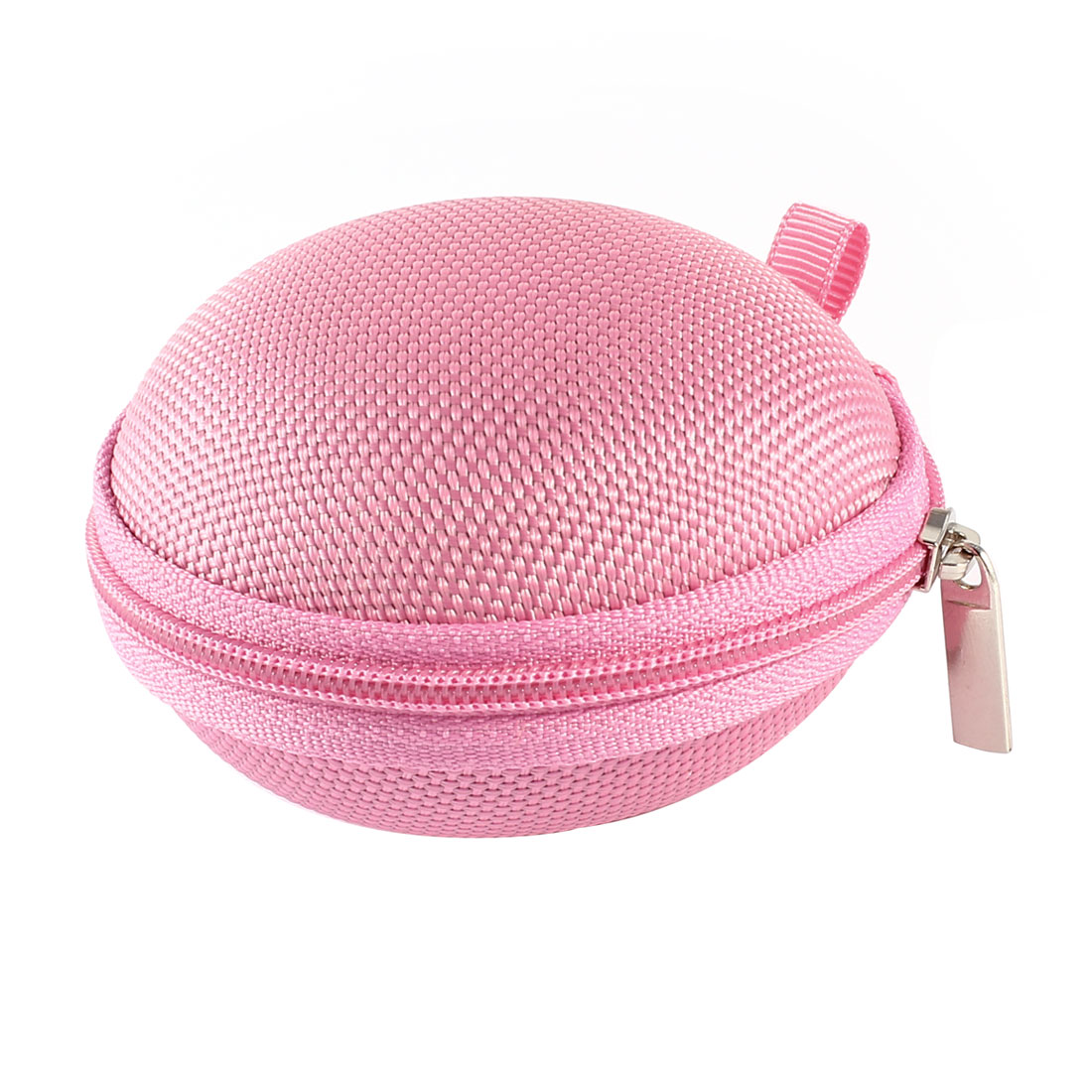 Pink Zipper Flannel Lining Plastic Headset Earphone Headphone Case Holder