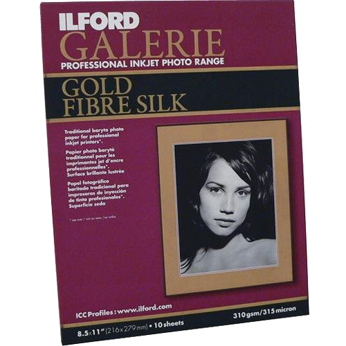 Ilford Galerie Gold Fibre Silk Inkjet 8.5 x 11 Photo Paper, 10 Sheets