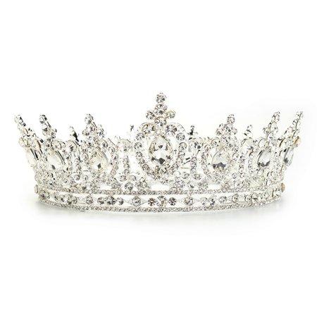 Luckyfine Wedding Bridal Luxury Full Round Princess Rhinestone Tiara Crown Headband Hair Accessories