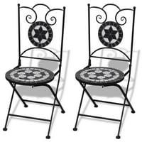 Folding Bistro Chairs 2 pcs Ceramic Black and White