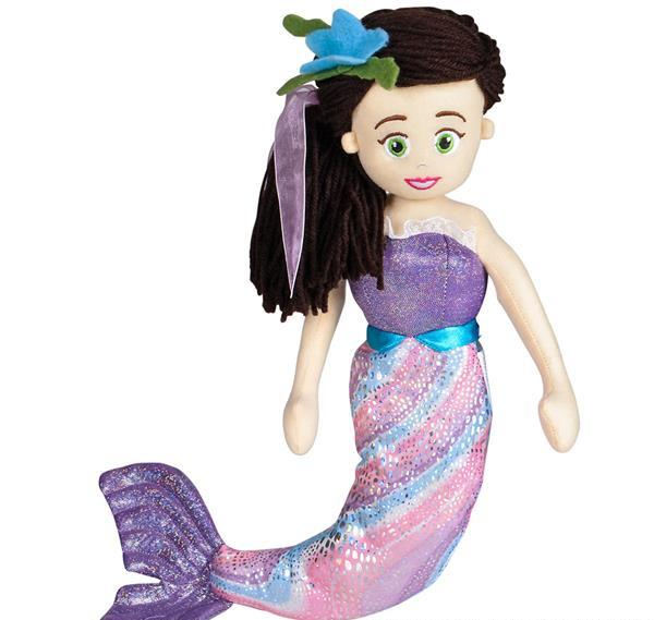 "18"" PURPLE MERMAID WITH BLACK HAIR, Case of 18"