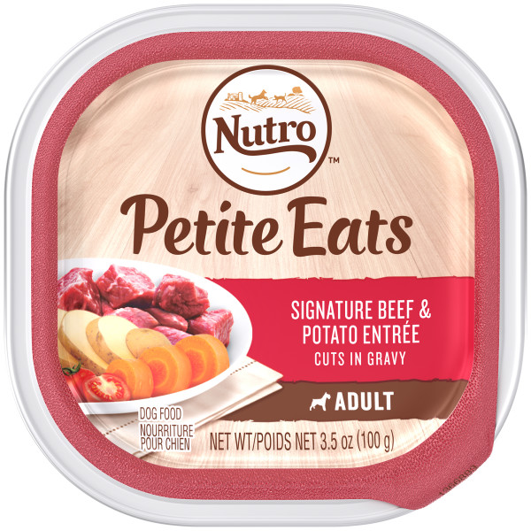 NUTRO Small Breed Adult PETITE EATS Signature Beef and Potato Entree Cuts in Gravy Dog Food Tray 3.5 Ounces