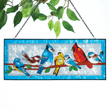 Colorful Songbirds Suncatcher - Place in Front of a Sunny Window - Stained Glass Look - Framed Blue Border, Chain Included for Easy Hanging - Glass / Metal - 20