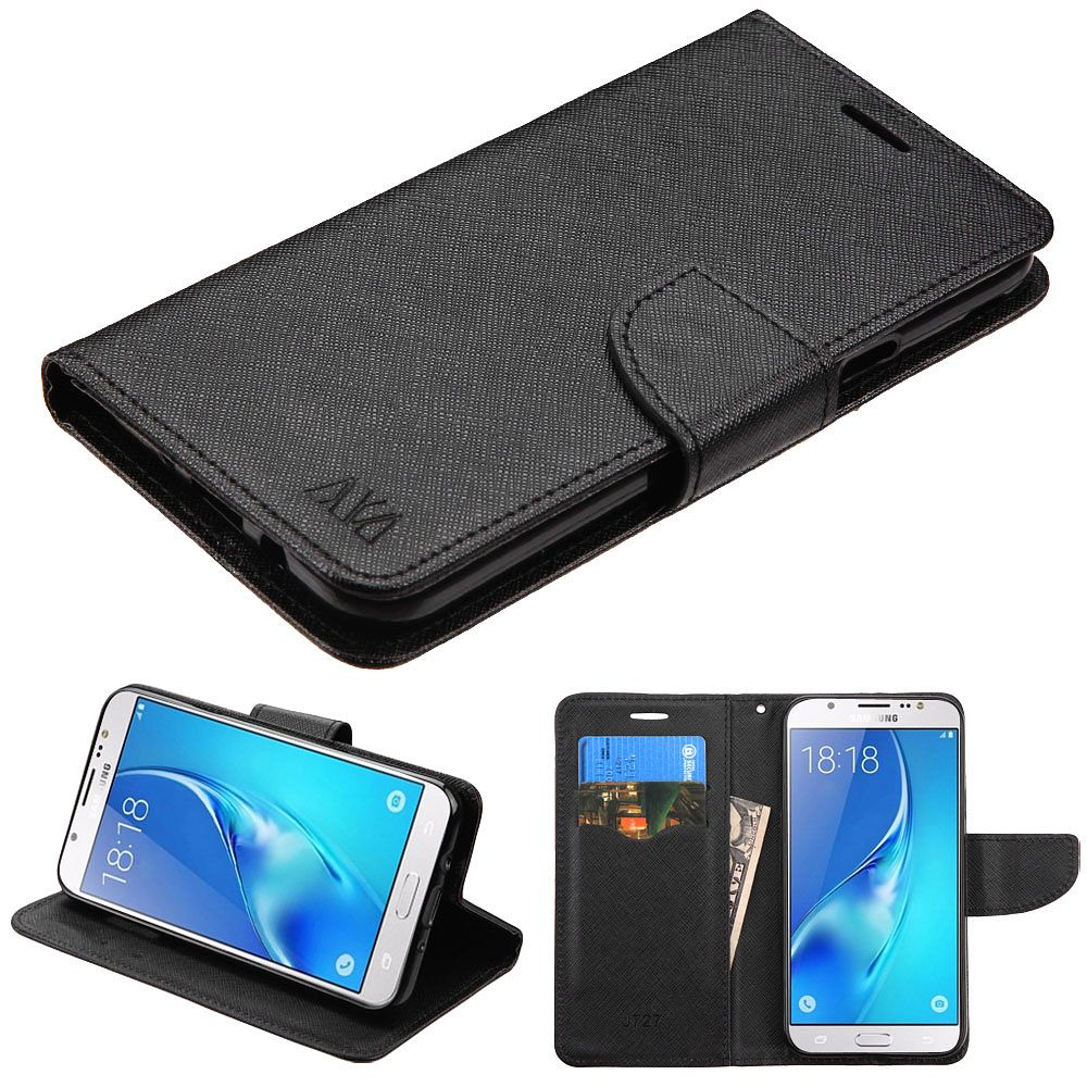 Galaxy J7 Sky Pro phone case by Insten Liner MyJacket Flip Wallet Leather Stand Case For Samsung Galaxy J7 (2017)/Sky Pro - Black (+ USB Cable)