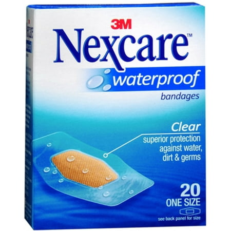 2 Pack - Nexcare Waterproof Clear Bandages One Size 20 Each