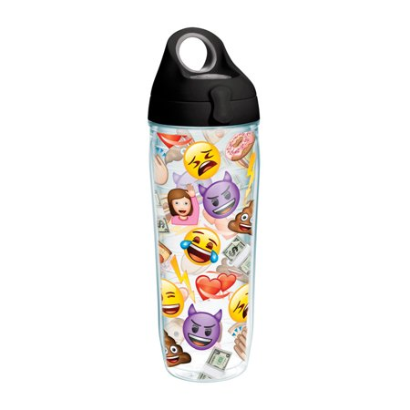 Tervis All Over Collage Wrap Clear Inner Water Bottle with Black Lid, 24 -