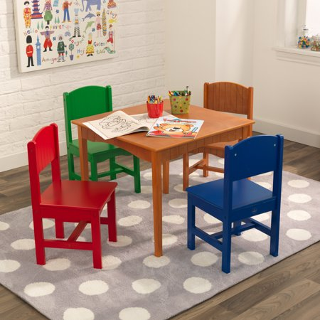 KidKraft Nantucket Kids Wooden Table & 4 Chairs Set with Wainscoting Detail - Primary