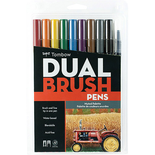 Dual Brush Pen Art Markers, Muted, 10pk