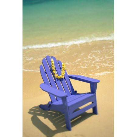 Blue Chair Along Shoreline With Plumeria Lei Hanging On Side Stretched Canvas - Dana Edmunds  Design Pics (12 x 19) ()