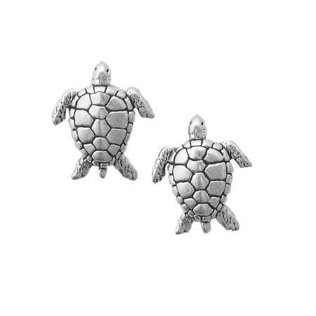 Sterling Silver Sea Turtle Children's Earrings (Childrens Turtle Earrings)