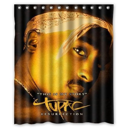 DEYOU Tupac Shakur Shower Curtain Polyester Fabric Bathroom Size 60x72 Inch