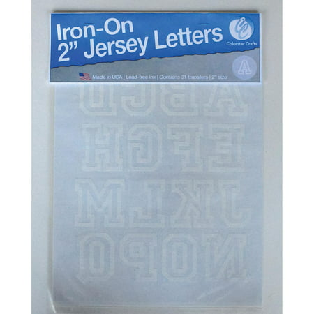 Jersey Letter - Jersey Letters: Open, White, 2 inches, 1 sheet