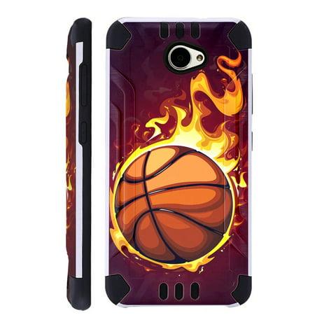 For Huawei Ascend XT2 / Huawei Ascend XT 2 / Huawei Elate 4G Case Brushed Metal Texture Hybrid TPU KombatGuard Phone Cover (Flaming Basketball)