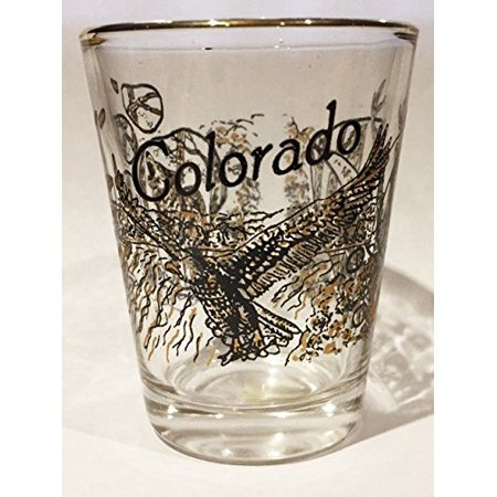 Colorado Wildlife Eagle Deer and Wolf shot glass