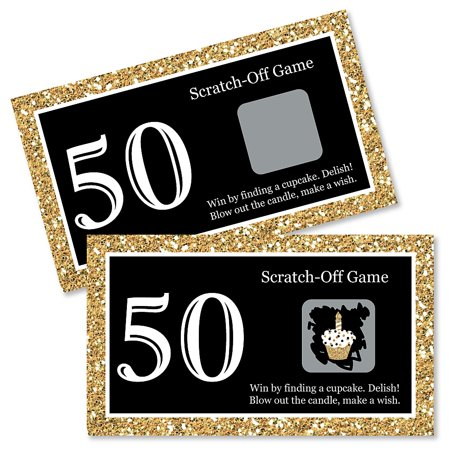 Adult 50th Birthday - Gold - Birthday Party Game Scratch Off Cards - 22 - Gag Gifts 50th Birthday