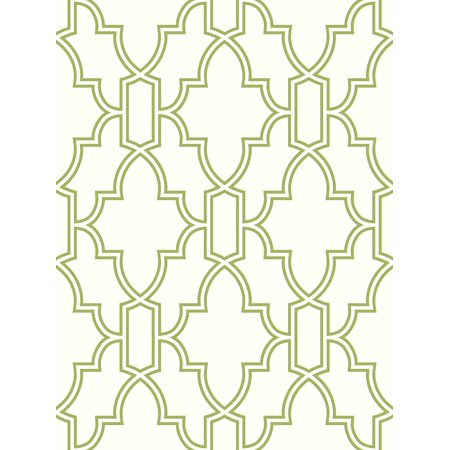 NextWall Green and White Tile Trellis Peel and Stick Wallpaper