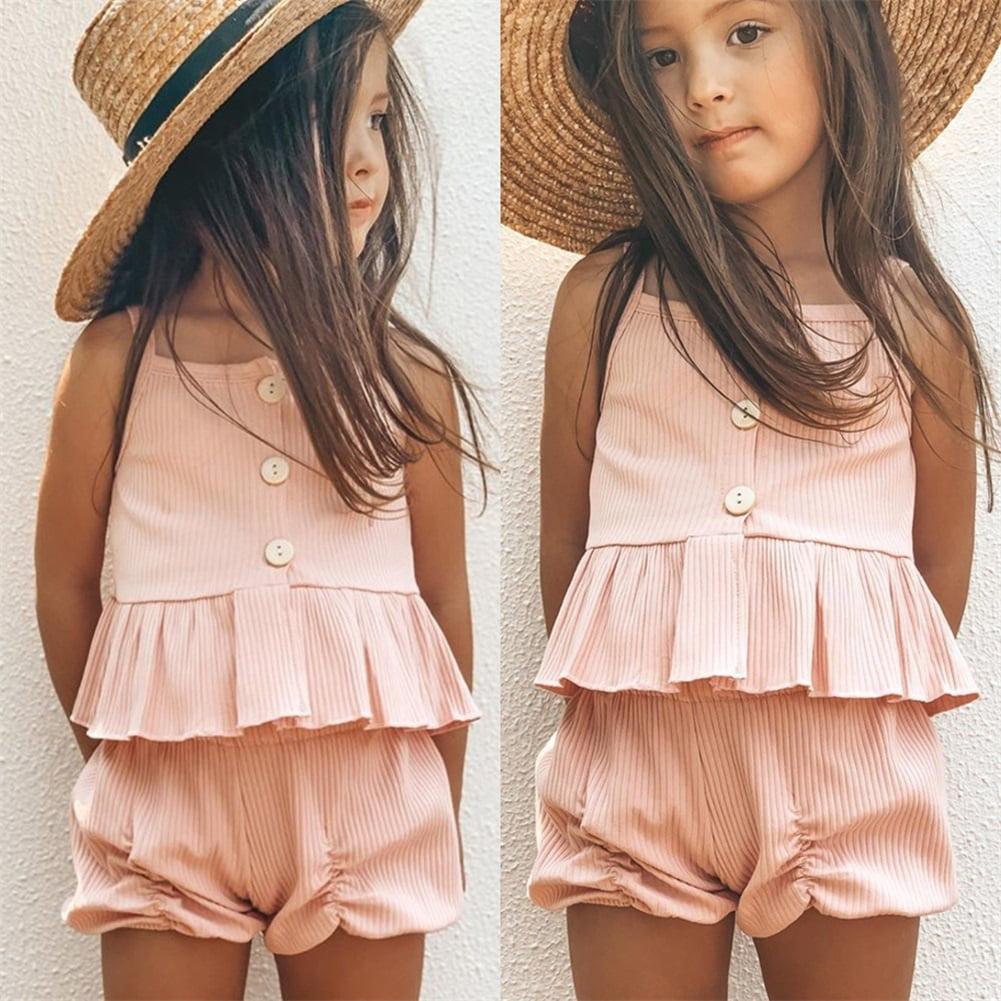 2PCS Toddler Kids Baby Girls Clothes Ruffle Tops Shorts Pants Summer Outfits Set