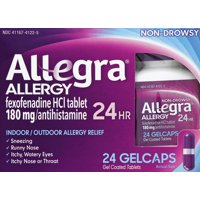 Allegra 24 Hour Allergy Relief Gelcaps, 24 Ct