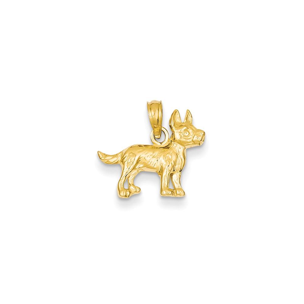 14k Yellow Gold Terrier Dog Pendant