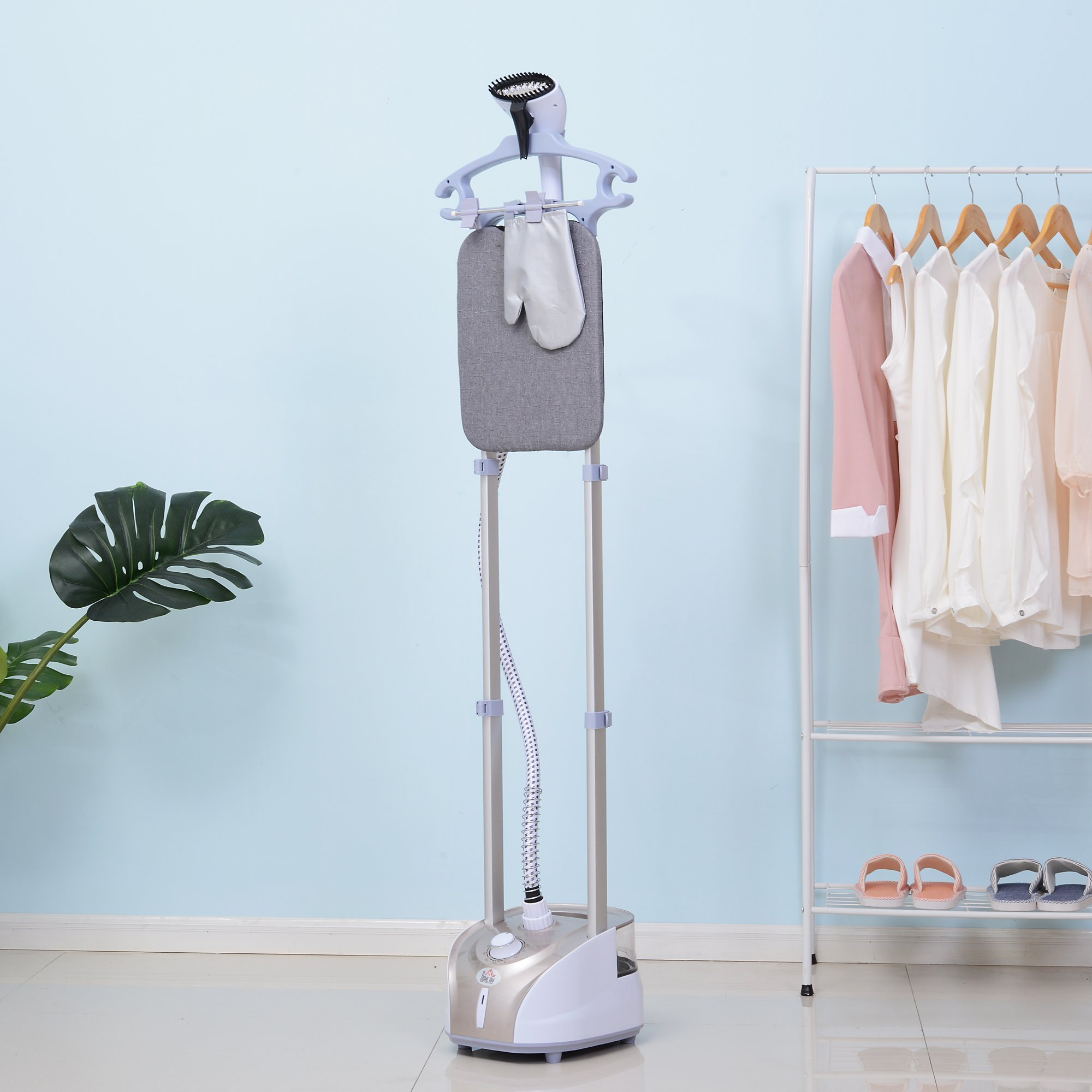 1800W Full-Size 2-Liter Upright Garment Steamer with Built-in Ironing Board and Hanger