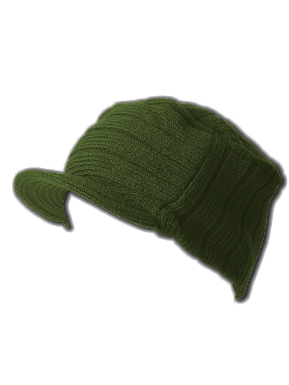 Square Rib Jeep Visor Beanie Hat - Olive b8122d6ba09