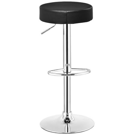 Awe Inspiring Gymax 1 Pc Bar Stool Round Leather Seat Chrome Leg Adjustable Hydraulic Swivel Black Gmtry Best Dining Table And Chair Ideas Images Gmtryco