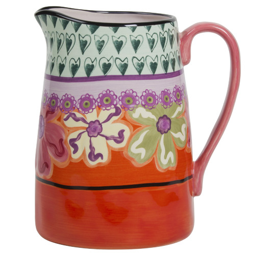 Kathy Davis Hearts and Flowers 3 Quart Pitcher