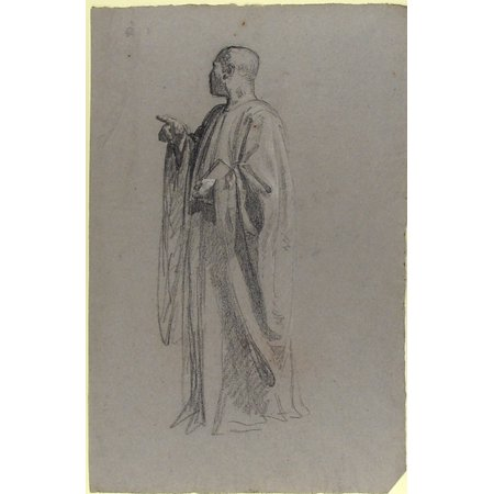 Cleric  Lower Register Study For Wall Paintings In The Chapel Of Saint Remi Sainte Clotilde Paris 1858  Poster Print By Isidore Pils  18 X 24
