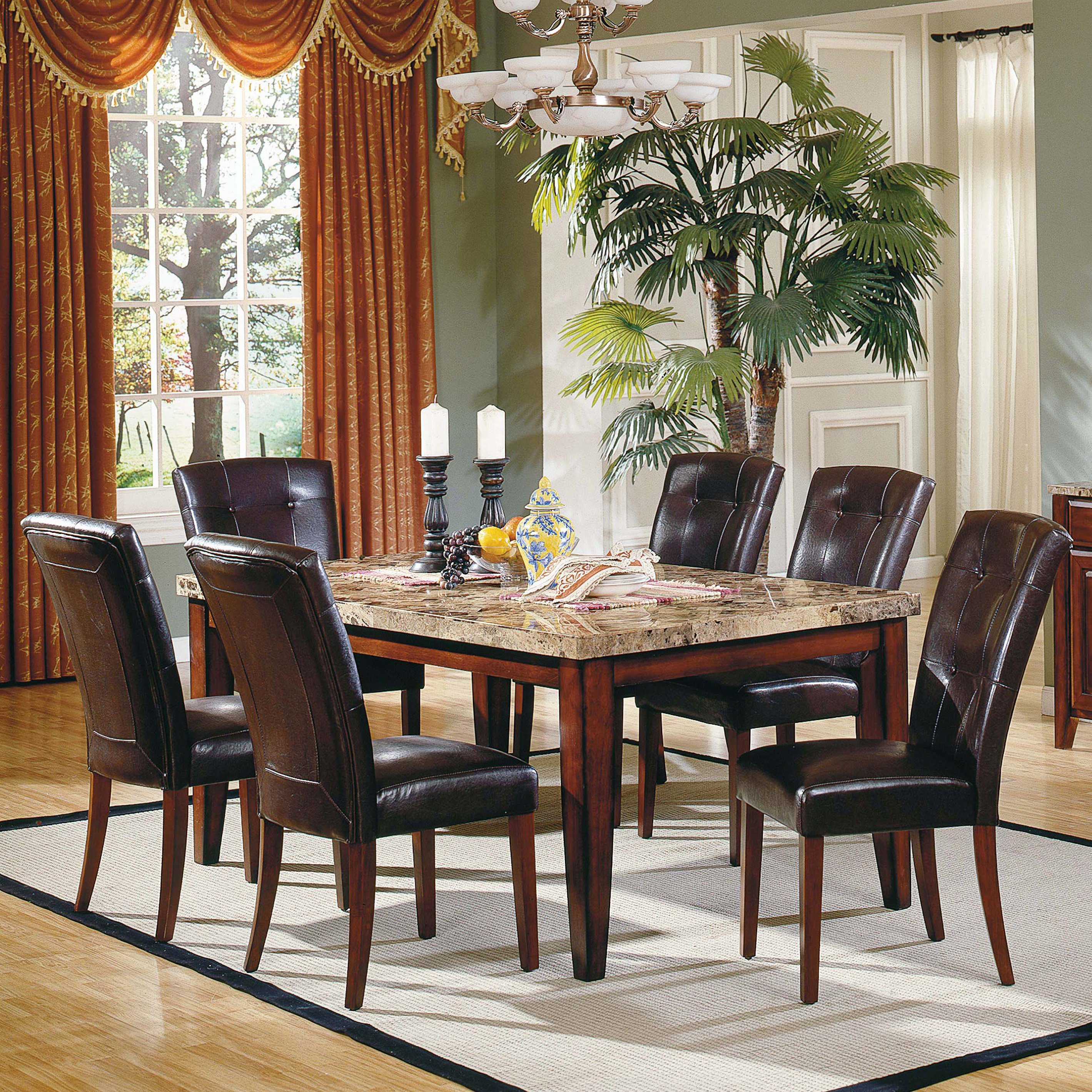 Steve Silver Montibello 7 Piece Marble Top Rectangular Dining Set