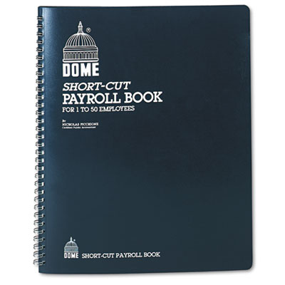 Payroll Record, Single Entry System, Blue Vinyl Cover, 8 3/4 x11 1/4 Pages, Sold as 1 Each
