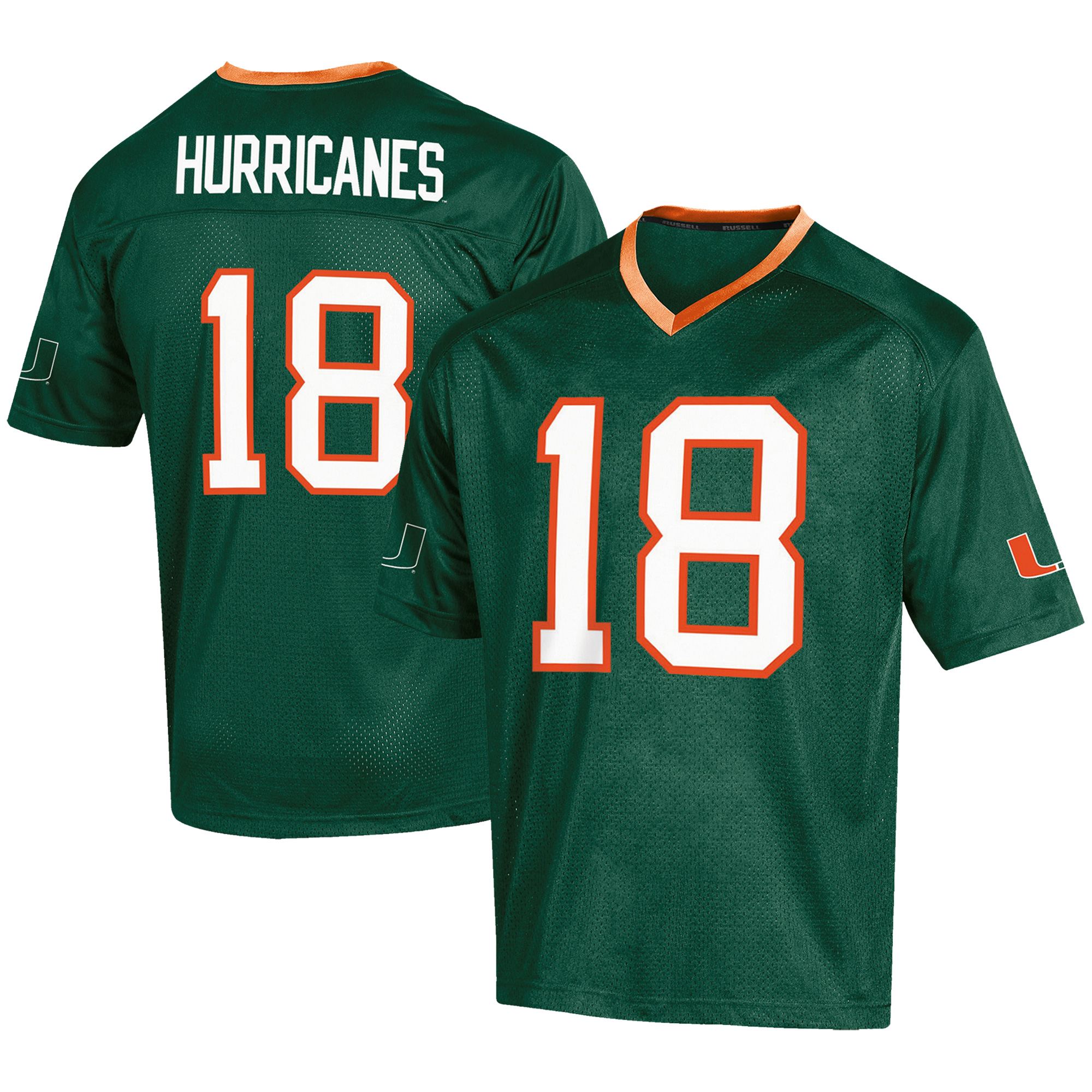 Men's Russell #18 Green Miami Hurricanes Fashion Football Jersey