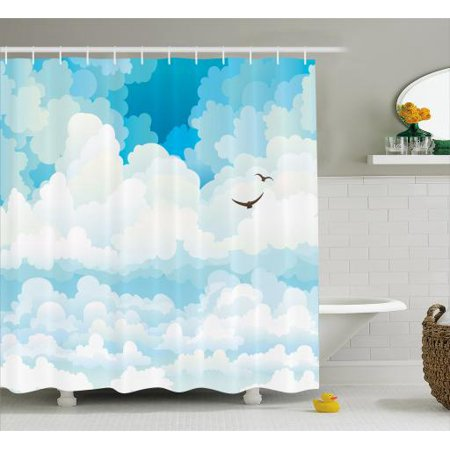Cloud Shower Curtain Group Of Cumulus Clouds On A Blue Sky And Silhouette Birds Fabric Bathroom Set With Hooks 69W X 84L Inches Extra Long