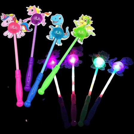 (12 Pack) Light-Up Unicorn Dinosaur Sticks Wands Flashing LED Toy T-Rex Glow Pony Lot Unicornio Recuerdos
