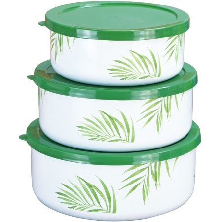 Corelle Coordinates 6-Piece Enamel on Steel Bowl Set, Bamboo Leaf