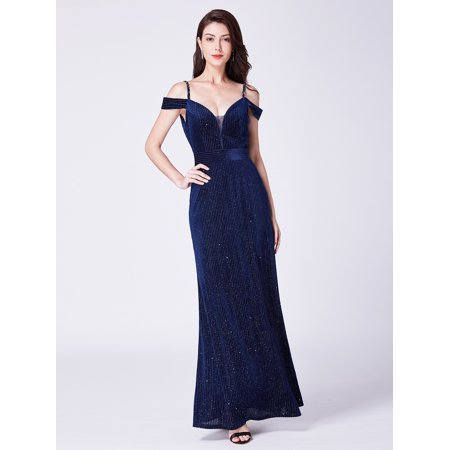 Womens Special Occasion Dresses - Ever-Pretty Women's Off Shoulder Long V-Neck Velvet Special Occasion Evening Cocktail Wedding Party Dresses for Women 07395 Navy Blue US 4