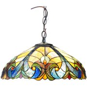"""Chloe Lighting Liaison Tiffany-Style 2-Light Victorian Ceiling Pendent with 18"""" Shade"""
