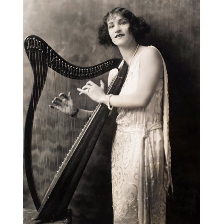 Harpist C1924 Npublicity Photograph For The Broadway Show The Best People With American Actress Florence Johns C1924 Poster Print by Granger