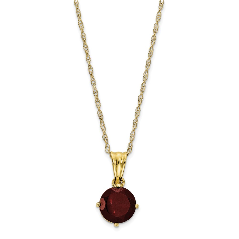 10K Yellow Gold Collection Polished Diamond Garnet Necklace 18inch by Diamond2Deal