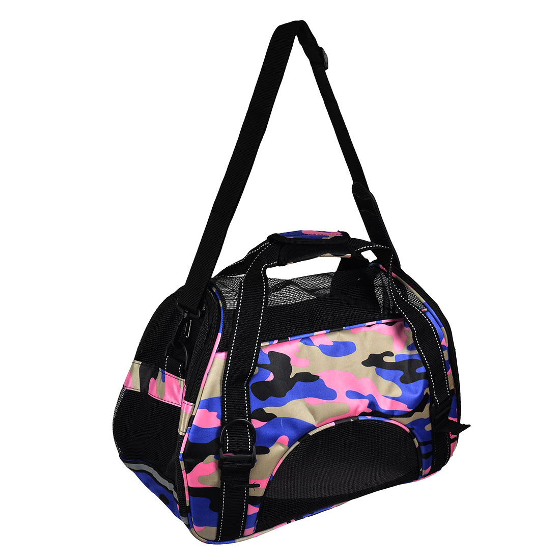Outdoors Nylon Meshy Zipper Closure Pet Carrier Dog Crate Totes Bag Camouflage A