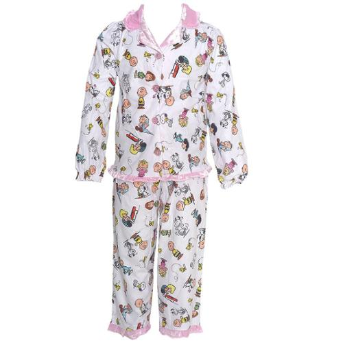 Peanuts Little Girls White Character Print Elastic Cuff 2 Pc Pajama Set 2T